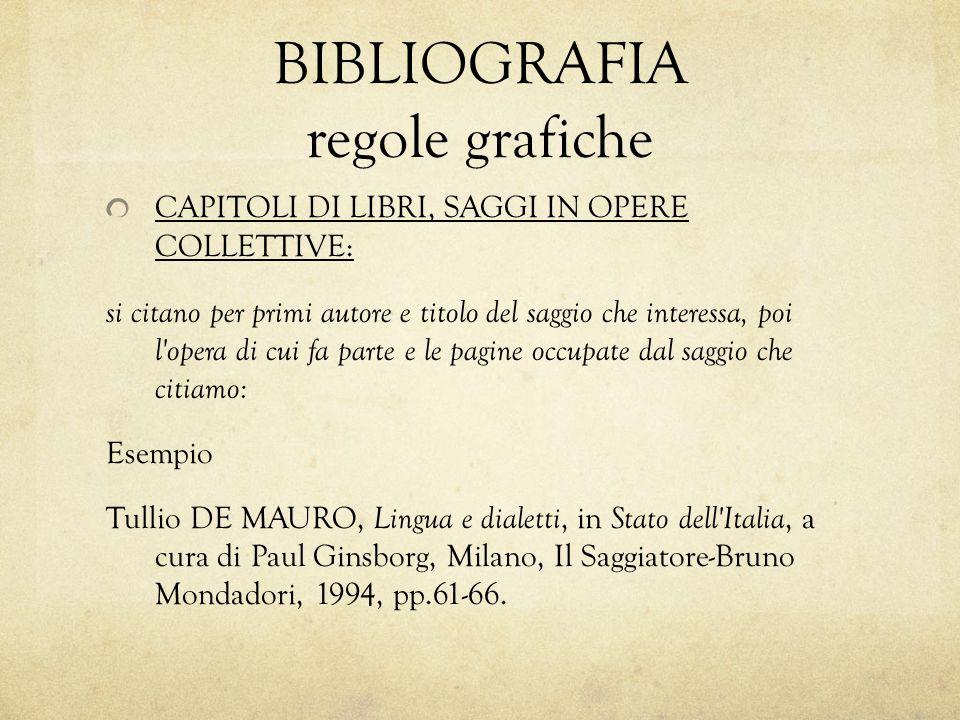 CAPITOLI DI LIBRI, SAGGI IN OPERE COLLETTIVE: si citano per primi autore e titolo del saggio che interessa, poi l'opera di cui fa parte e le pagine oc
