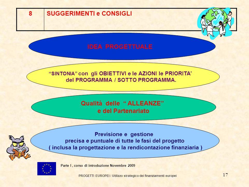 16 PROGETTI EUROPEI / Utilizzo strategico dei finanziamenti europei Parte I, corso di introduzione Novembre 2009 7COME PARTECIPARE AD UN PROGRAMMA EUROPEO .