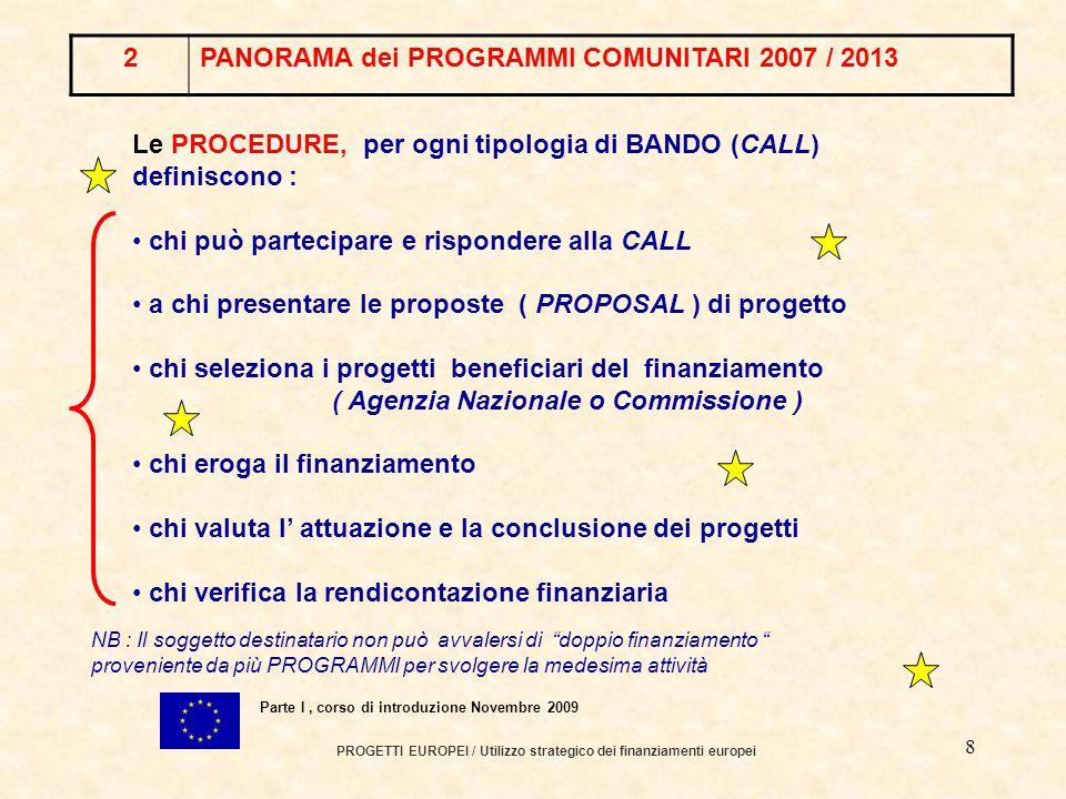 7 PROGETTI EUROPEI / Utilizzo strategico dei finanziamenti europei Parte I, corso di introduzione Novembre 2009 I SOGGETTI DESTINATARI (chi può accedere) Gli OBIETTIVI ( specifici – operativi ) Le AZIONI ( finanziabili ) Le PROCEDURE NB : Il soggetto destinatario non può avvalersi di doppio finanziamento proveniente da più PROGRAMMI per svolgere la medesima attività Le PRIORITA' ANNUALI vengono indicate a livello centrale e da ogni singolo paese Ogni SOTTO-PROGRAMMA definisce in dettaglio 2PANORAMA dei PROGRAMMI COMUNITARI 2007 / 2013