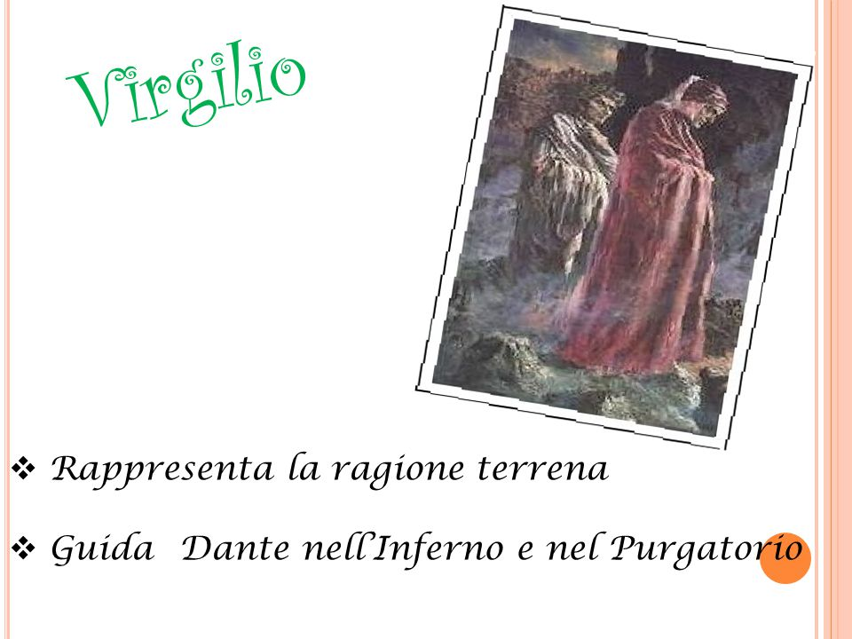 Virgilio  Rappresenta la ragione terrena  Guida Dante nell'Inferno e nel Purgatorio