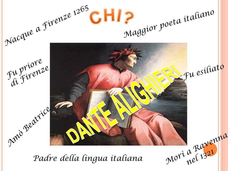 Maggior poeta italiano Nacque a Firenze 1265 Amò Beatrice Fu priore di Firenze Fu esiliato Morì a Ravenna nel 1321 Padre della lingua italiana