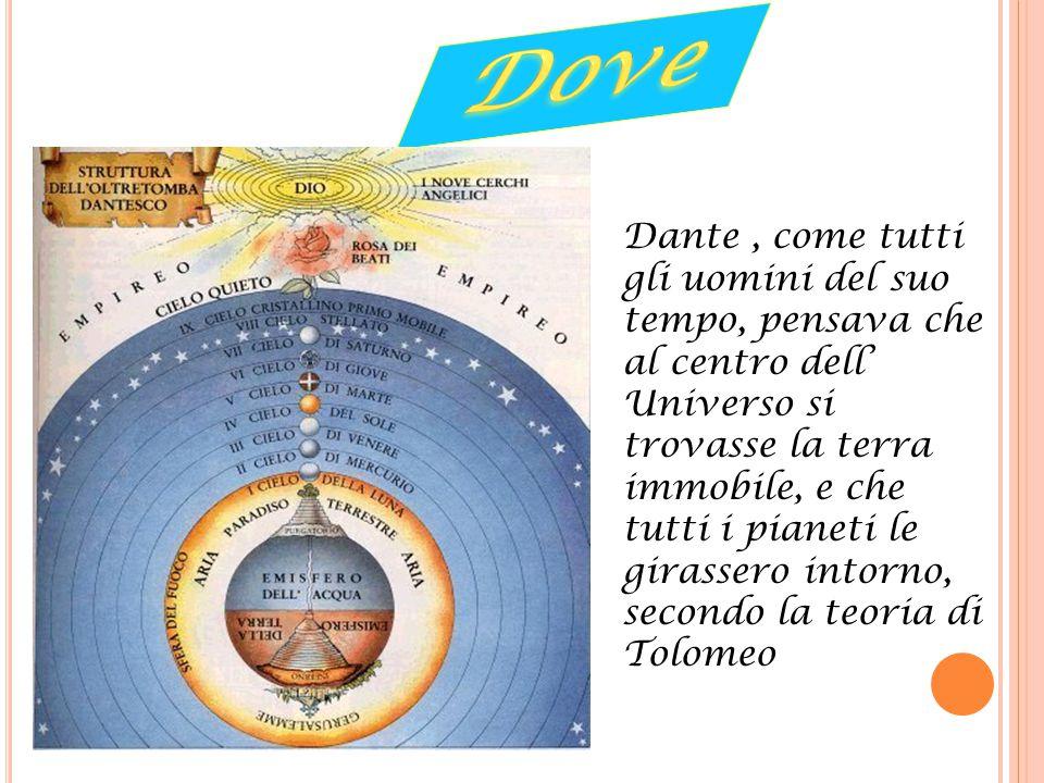Dante, come tutti gli uomini del suo tempo, pensava che al centro dell' Universo si trovasse la terra immobile, e che tutti i pianeti le girassero int