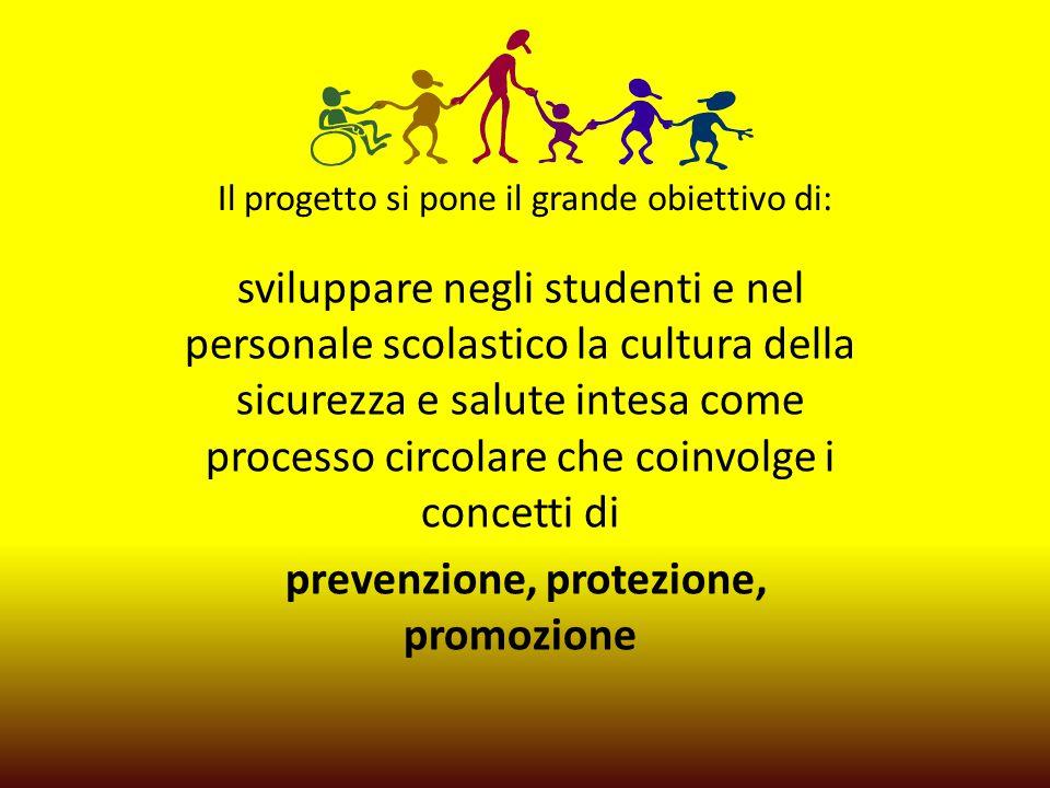 Il progetto si pone il grande obiettivo di: sviluppare negli studenti e nel personale scolastico la cultura della sicurezza e salute intesa come processo circolare che coinvolge i concetti di prevenzione, protezione, promozione