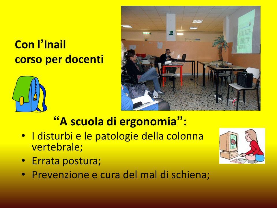 Con l'Inail corso per docenti A scuola di ergonomia : I disturbi e le patologie della colonna vertebrale; Errata postura; Prevenzione e cura del mal di schiena;