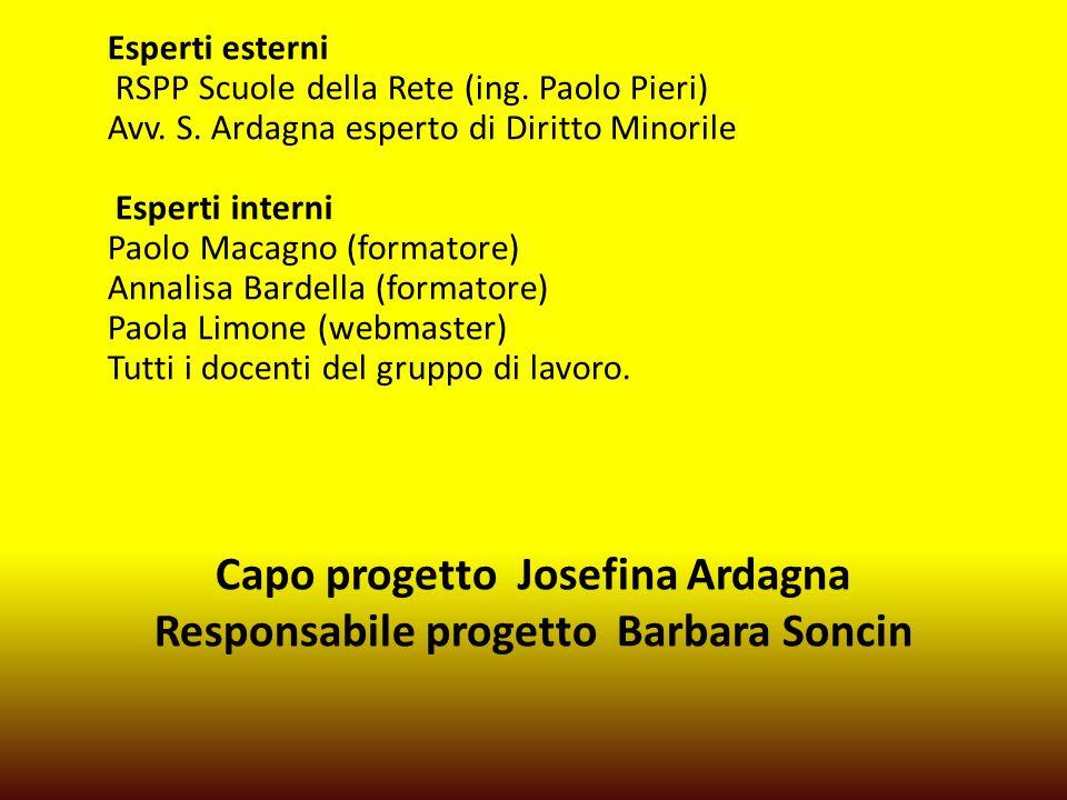 Capo progetto Josefina Ardagna Responsabile progetto Barbara Soncin Esperti esterni RSPP Scuole della Rete (ing.
