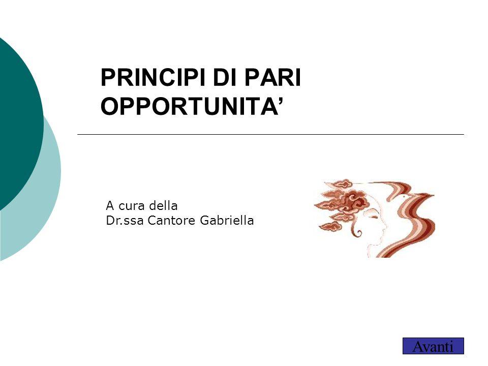 PRINCIPI DI PARI OPPORTUNITA' Per aggiungere alla diapositiva il logo della società: Scegliere Immagine dal menu Inserisci Individuare il file con il