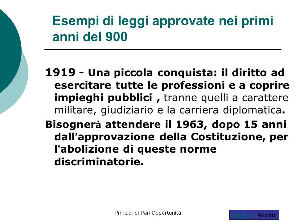 Principi di Pari Opportunità10 Esempi di leggi approvate nei primi anni del 900 1919 - Una piccola conquista: il diritto ad esercitare tutte le profes