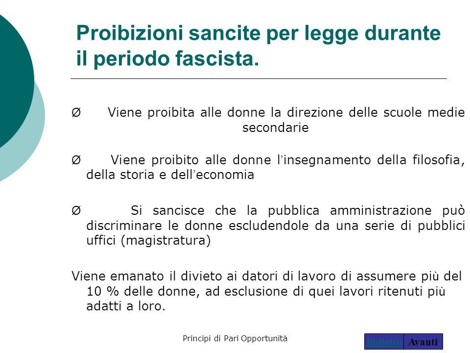 Principi di Pari Opportunità11 Proibizioni sancite per legge durante il periodo fascista. Ø Viene proibita alle donne la direzione delle scuole medie