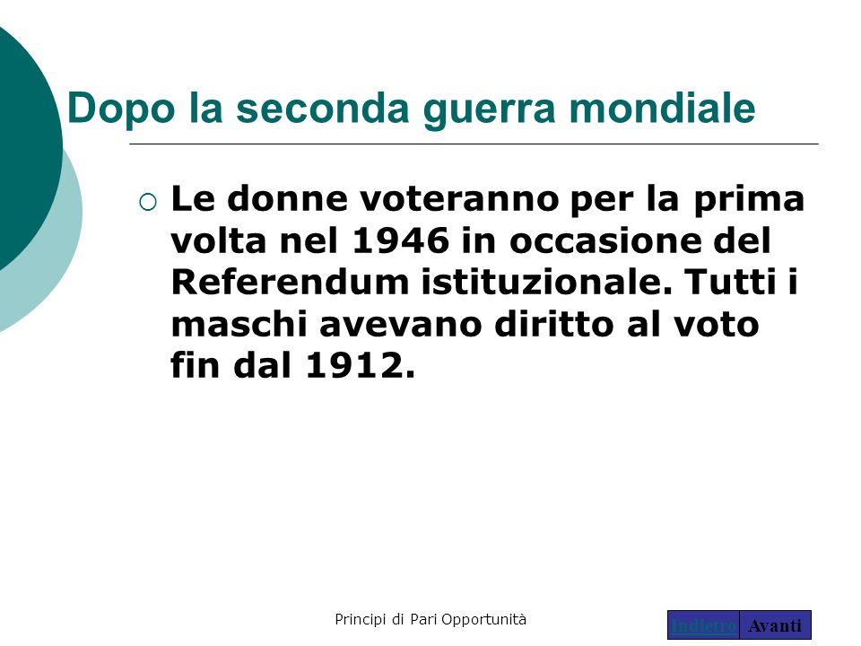 Principi di Pari Opportunità13 Dopo la seconda guerra mondiale  Le donne voteranno per la prima volta nel 1946 in occasione del Referendum istituzion
