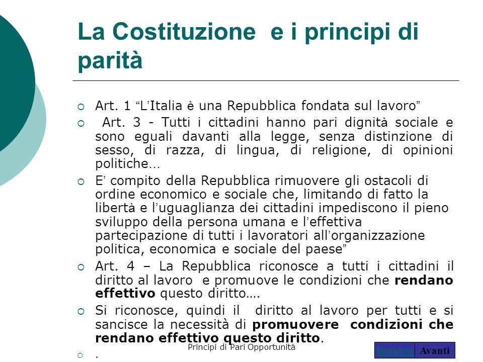 """Principi di Pari Opportunità14 La Costituzione e i principi di parità  Art. 1 """" L ' Italia è una Repubblica fondata sul lavoro """"  Art. 3 - Tutti i c"""