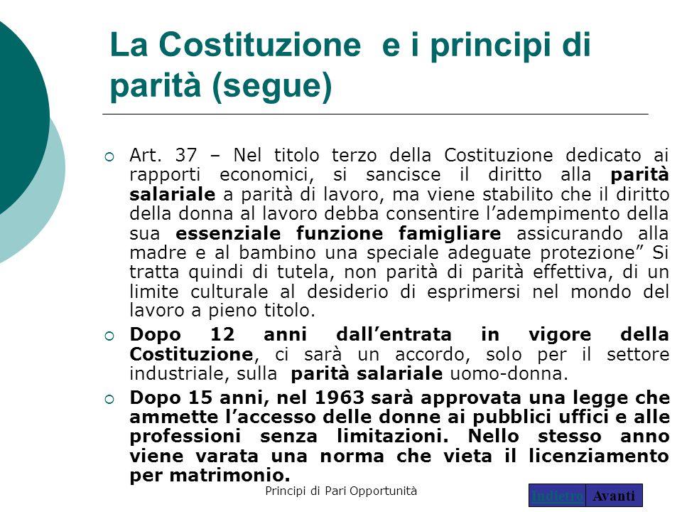 Principi di Pari Opportunità15 La Costituzione e i principi di parità (segue)  Art. 37 – Nel titolo terzo della Costituzione dedicato ai rapporti eco