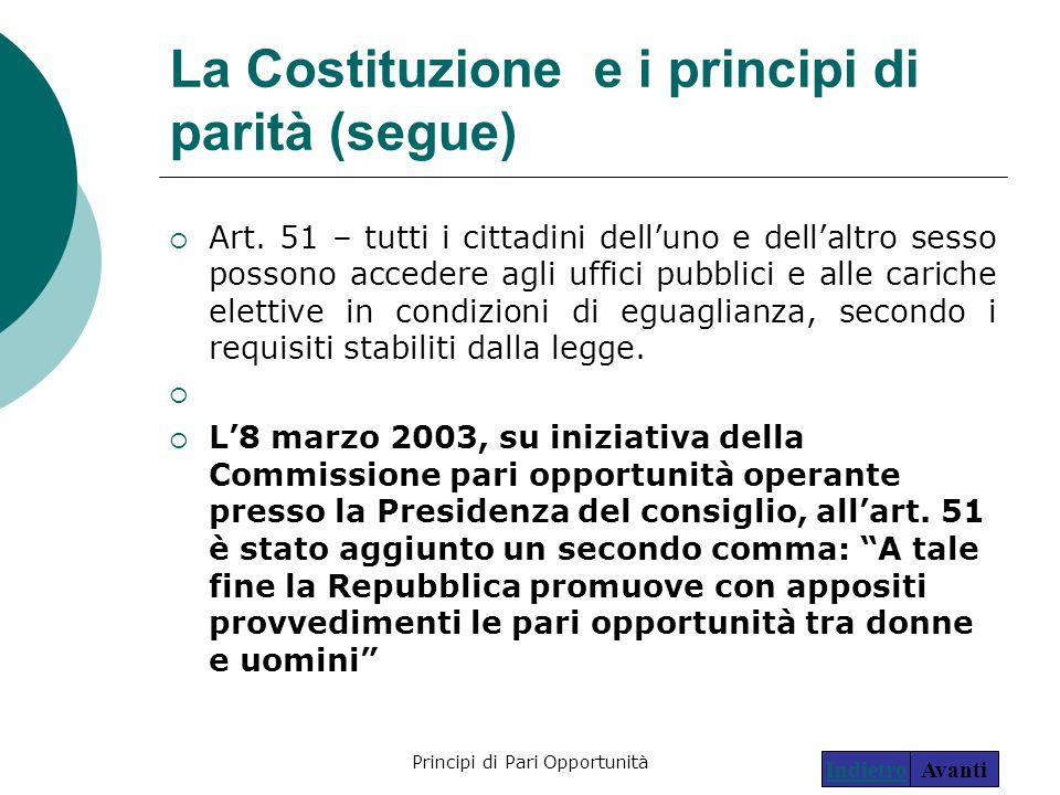 Principi di Pari Opportunità16 La Costituzione e i principi di parità (segue)  Art. 51 – tutti i cittadini dell'uno e dell'altro sesso possono accede