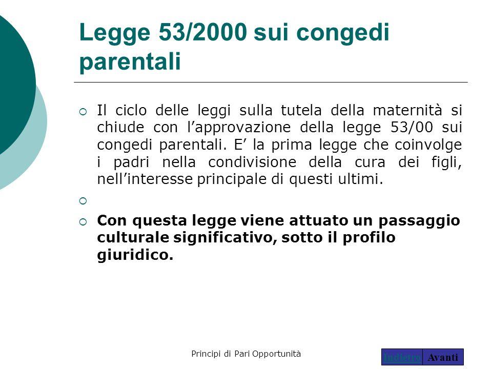 Principi di Pari Opportunità18 Legge 53/2000 sui congedi parentali  Il ciclo delle leggi sulla tutela della maternità si chiude con l'approvazione de