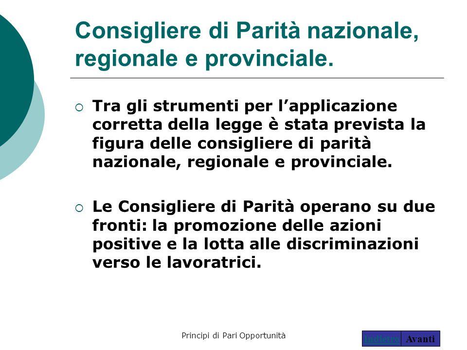 Principi di Pari Opportunità25 Consigliere di Parità nazionale, regionale e provinciale.  Tra gli strumenti per l'applicazione corretta della legge è
