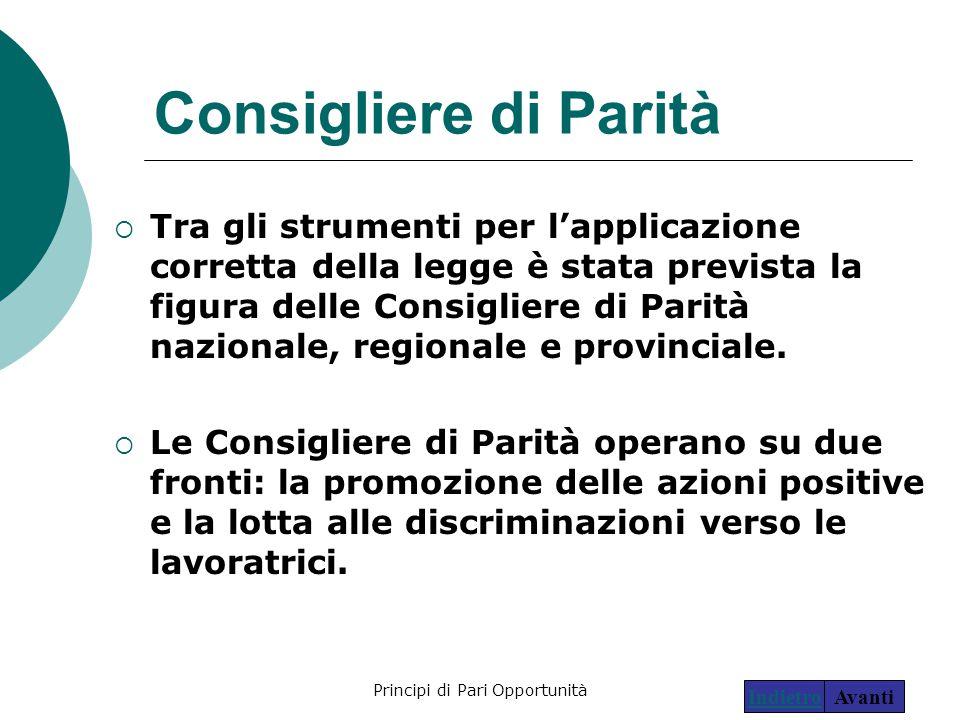 Principi di Pari Opportunità26 Consigliere di Parità  Tra gli strumenti per l'applicazione corretta della legge è stata prevista la figura delle Cons