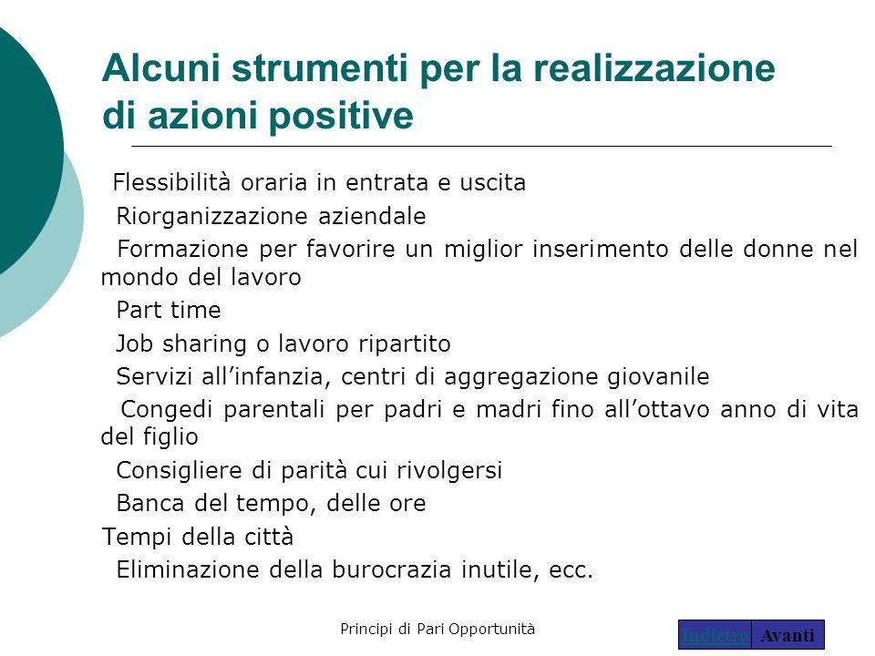 Principi di Pari Opportunità28 Alcuni strumenti per la realizzazione di azioni positive Flessibilità oraria in entrata e uscita Riorganizzazione azien
