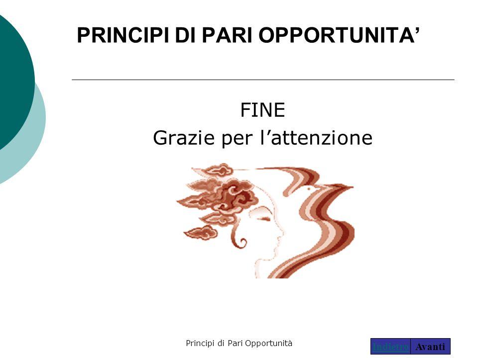 Principi di Pari Opportunità29 PRINCIPI DI PARI OPPORTUNITA' FINE Grazie per l'attenzione AvantiIndietro