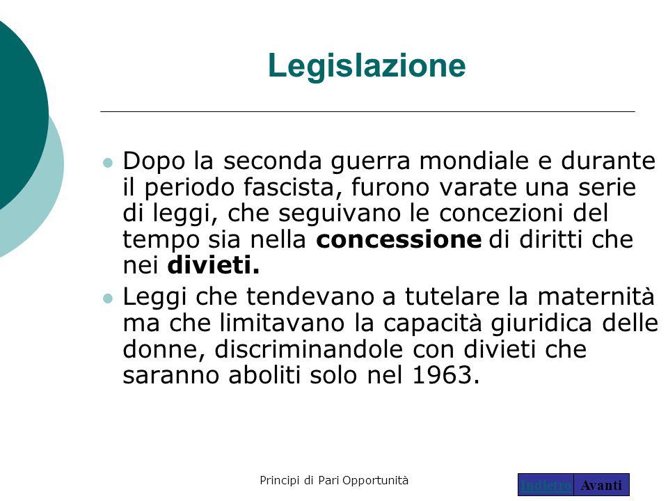 Principi di Pari Opportunità6 Legislazione Dopo la seconda guerra mondiale e durante il periodo fascista, furono varate una serie di leggi, che seguiv