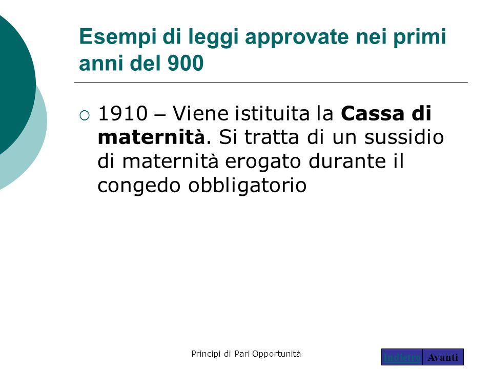 Principi di Pari Opportunità8 Esempi di leggi approvate nei primi anni del 900  1910 – Viene istituita la Cassa di maternit à. Si tratta di un sussid