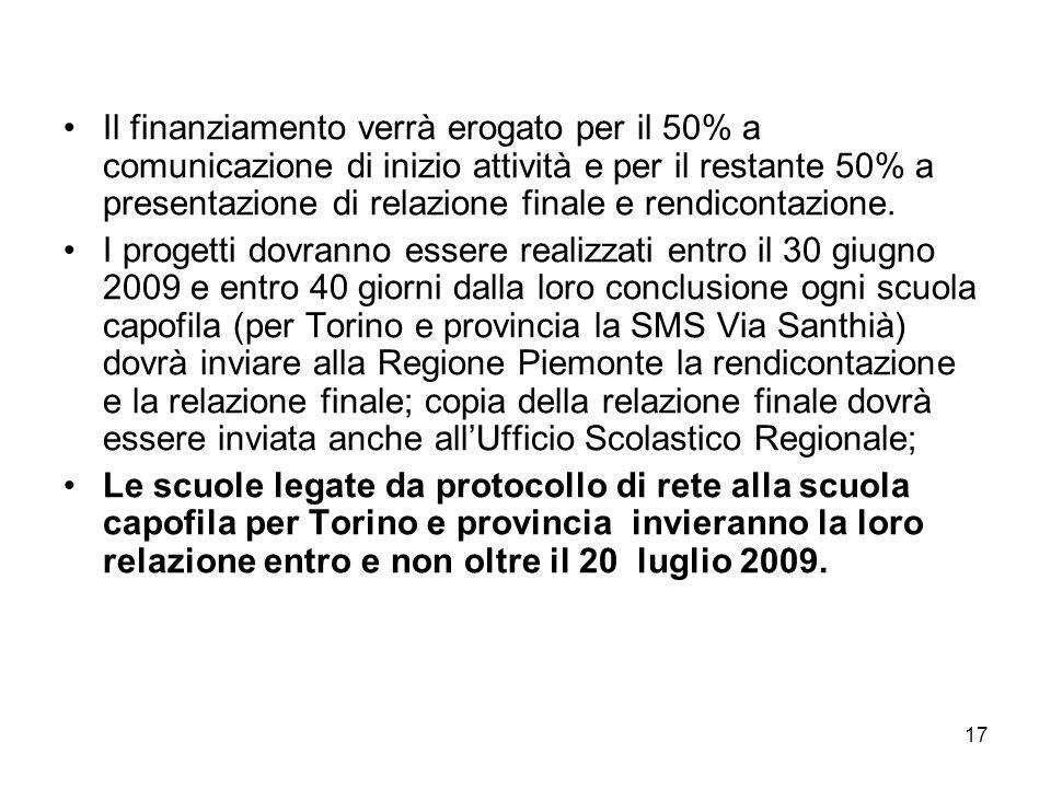 17 Il finanziamento verrà erogato per il 50% a comunicazione di inizio attività e per il restante 50% a presentazione di relazione finale e rendicontazione.