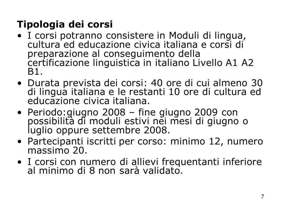 7 Tipologia dei corsi I corsi potranno consistere in Moduli di lingua, cultura ed educazione civica italiana e corsi di preparazione al conseguimento della certificazione linguistica in italiano Livello A1 A2 B1.