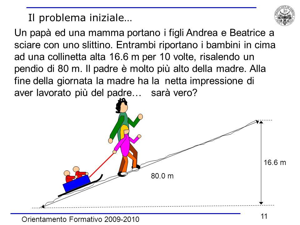 Orientamento Formativo 2009-2010 11 Il problema iniziale… 16.6 m 80.0 m Un papà ed una mamma portano i figli Andrea e Beatrice a sciare con uno slitti