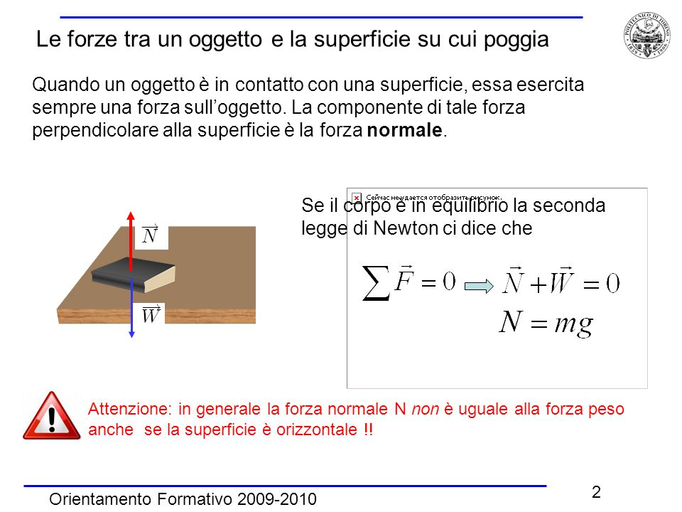 2 Quando un oggetto è in contatto con una superficie, essa esercita sempre una forza sull'oggetto. La componente di tale forza perpendicolare alla sup