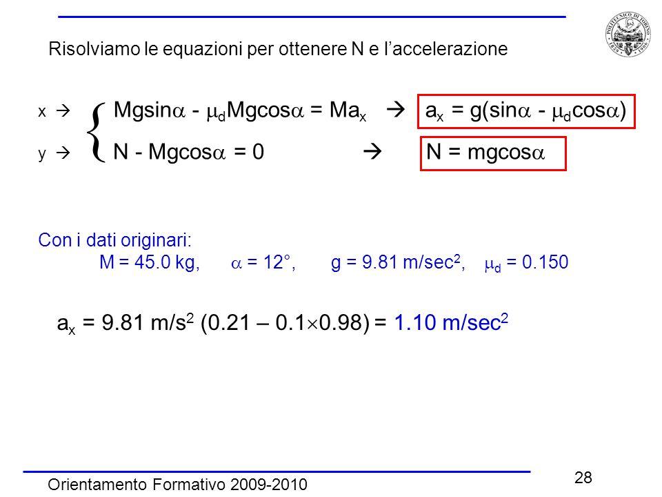 Orientamento Formativo 2009-2010 28 x  Mgsin  -  d Mgcos  = Ma x  a x = g(sin  -  d cos  ) y  N - Mgcos  = 0  N = mgcos   Con i dati orig