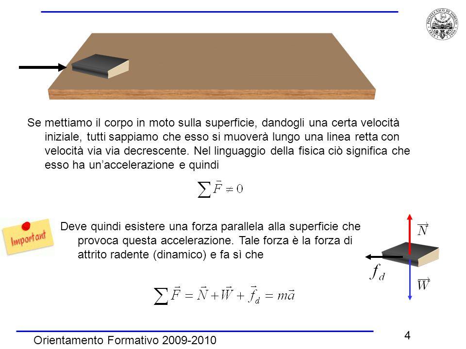 Orientamento Formativo 2009-2010 4 Se mettiamo il corpo in moto sulla superficie, dandogli una certa velocità iniziale, tutti sappiamo che esso si muo
