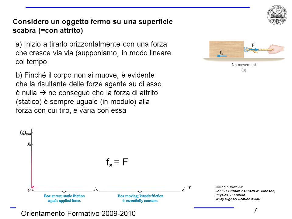 Orientamento Formativo 2009-2010 7 Considero un oggetto fermo su una superficie scabra (=con attrito) a) Inizio a tirarlo orizzontalmente con una forz