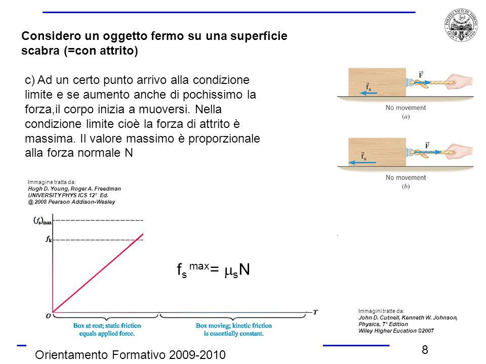Orientamento Formativo 2009-2010 8 Considero un oggetto fermo su una superficie scabra (=con attrito) c) Ad un certo punto arrivo alla condizione limi