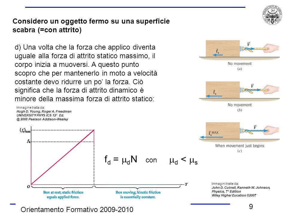 Orientamento Formativo 2009-2010 9 Considero un oggetto fermo su una superficie scabra (=con attrito) d) Una volta che la forza che applico diventa ug