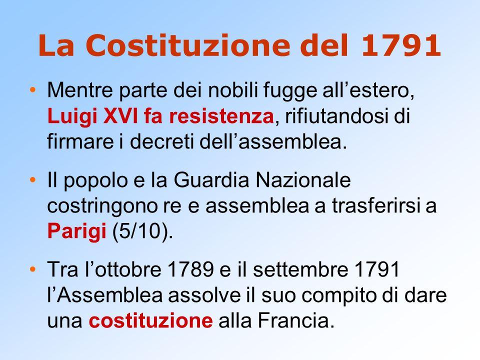 La Costituzione del 1791 Mentre parte dei nobili fugge all'estero, Luigi XVI fa resistenza, rifiutandosi di firmare i decreti dell'assemblea. Il popol