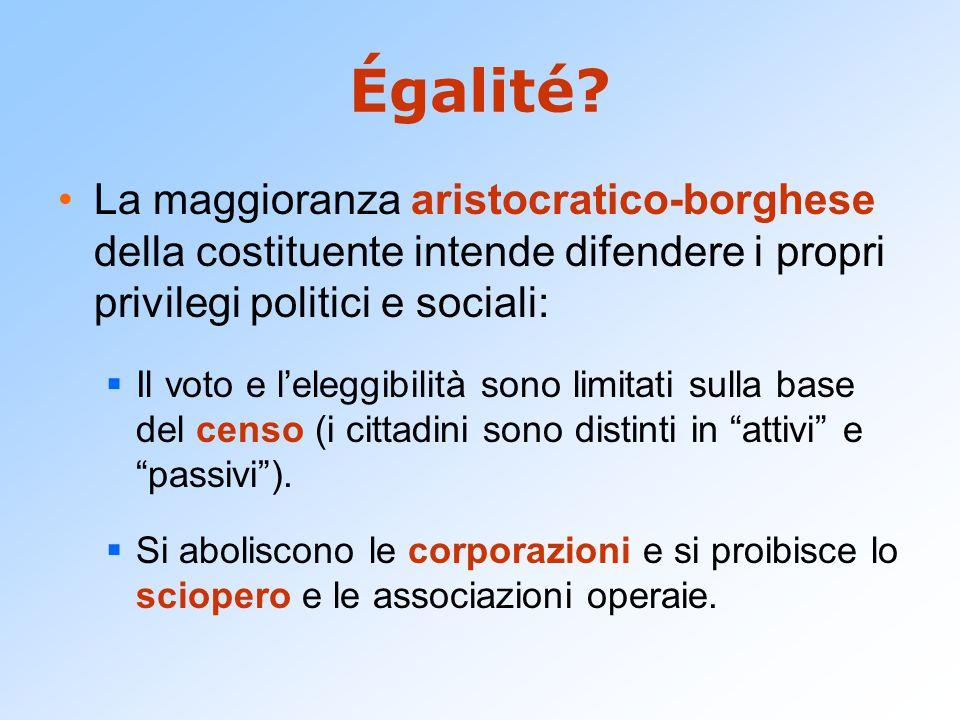 Égalité? La maggioranza aristocratico-borghese della costituente intende difendere i propri privilegi politici e sociali:  Il voto e l'eleggibilità s
