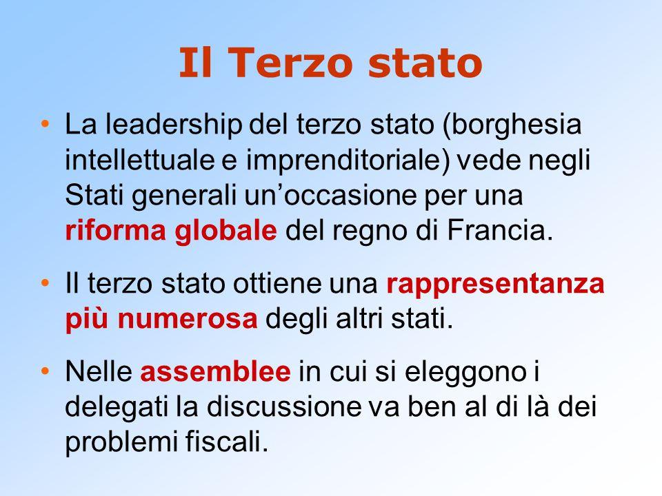 Il Terzo stato La leadership del terzo stato (borghesia intellettuale e imprenditoriale) vede negli Stati generali un'occasione per una riforma globale del regno di Francia.