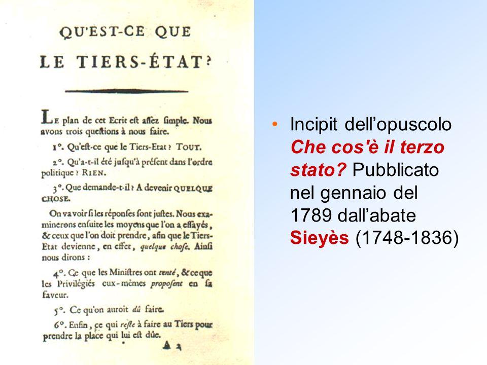 Incipit dell'opuscolo Che cos'è il terzo stato? Pubblicato nel gennaio del 1789 dall'abate Sieyès (1748-1836)
