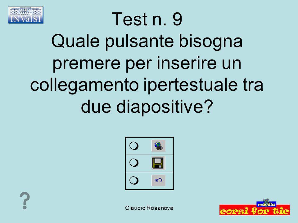 Claudio Rosanova Test n. 9 Quale pulsante bisogna premere per inserire un collegamento ipertestuale tra due diapositive?   