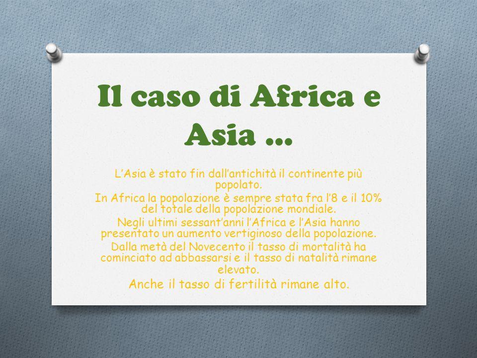 Il caso di Africa e Asia... L'Asia è stato fin dall'antichità il continente più popolato. In Africa la popolazione è sempre stata fra l'8 e il 10% del