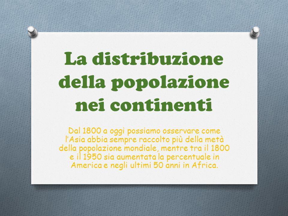 La distribuzione della popolazione nei continenti Dal 1800 a oggi possiamo osservare come l'Asia abbia sempre raccolto più della metà della popolazion