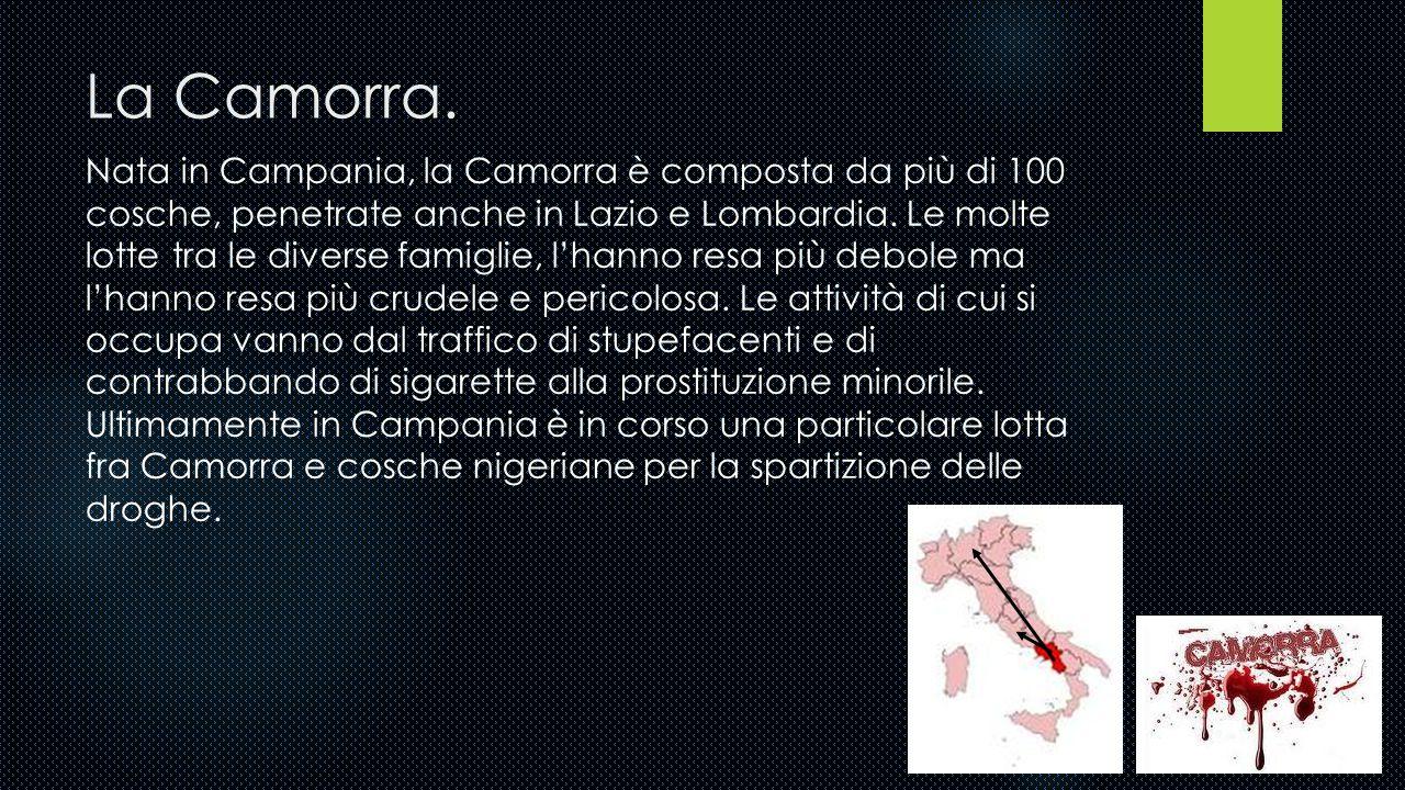 Le varie organizzazioni criminali.  Camorra;  'Ndrangheta;  Sacra Corona Unita;  Cosa Nostra.