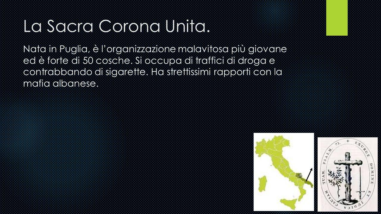 La 'Ndrangheta. Sorta in Calabria, la 'Ndrangheta ha coltivato radici anche nel nord Italia, a seguito dei flussi migratori dei calabresi, fino a dive