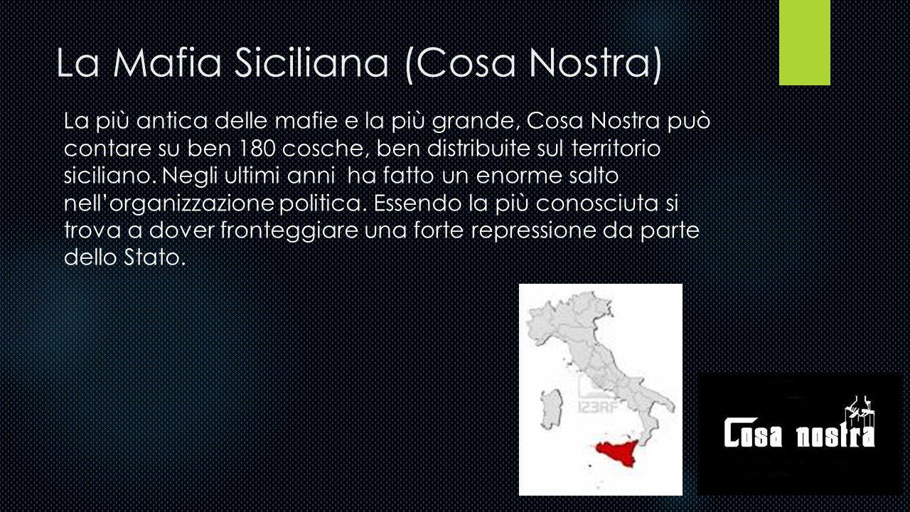 La Sacra Corona Unita. Nata in Puglia, è l'organizzazione malavitosa più giovane ed è forte di 50 cosche. Si occupa di traffici di droga e contrabband