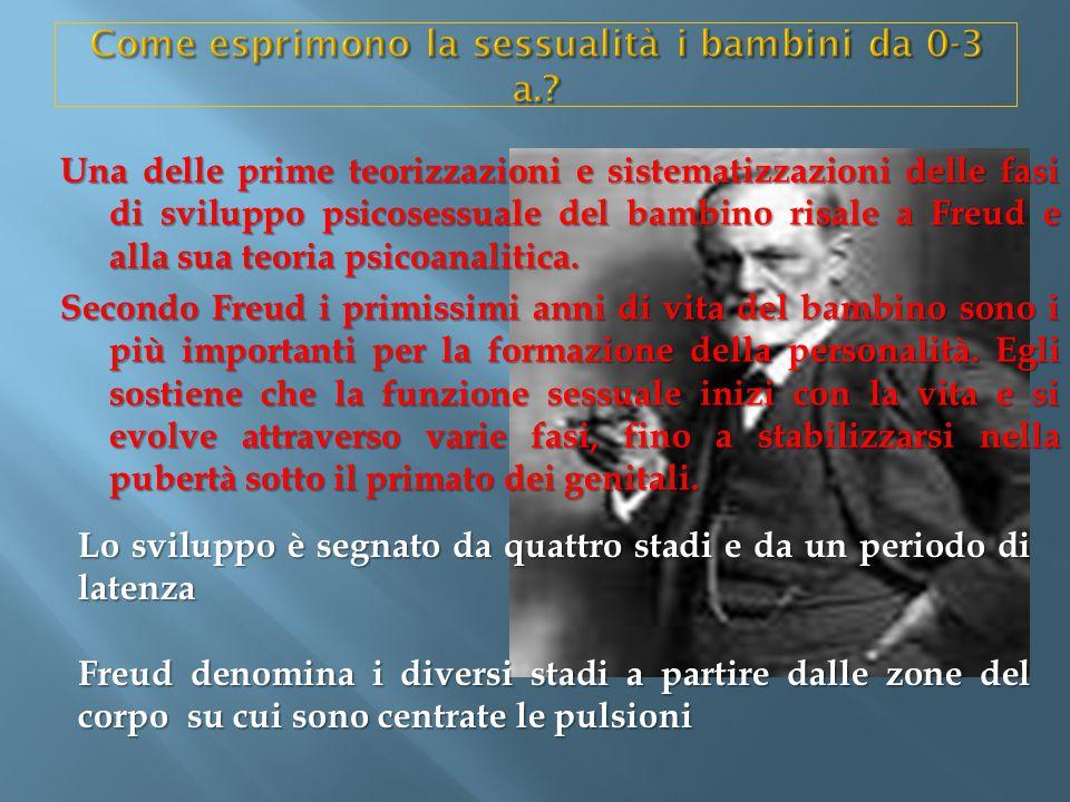 Una delle prime teorizzazioni e sistematizzazioni delle fasi di sviluppo psicosessuale del bambino risale a Freud e alla sua teoria psicoanalitica. Se