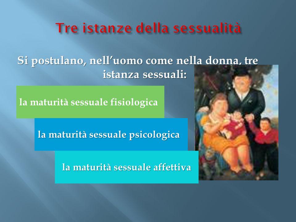 Si postulano, nell'uomo come nella donna, tre istanza sessuali: la maturità sessuale fisiologica la maturità sessuale psicologica la maturità sessuale