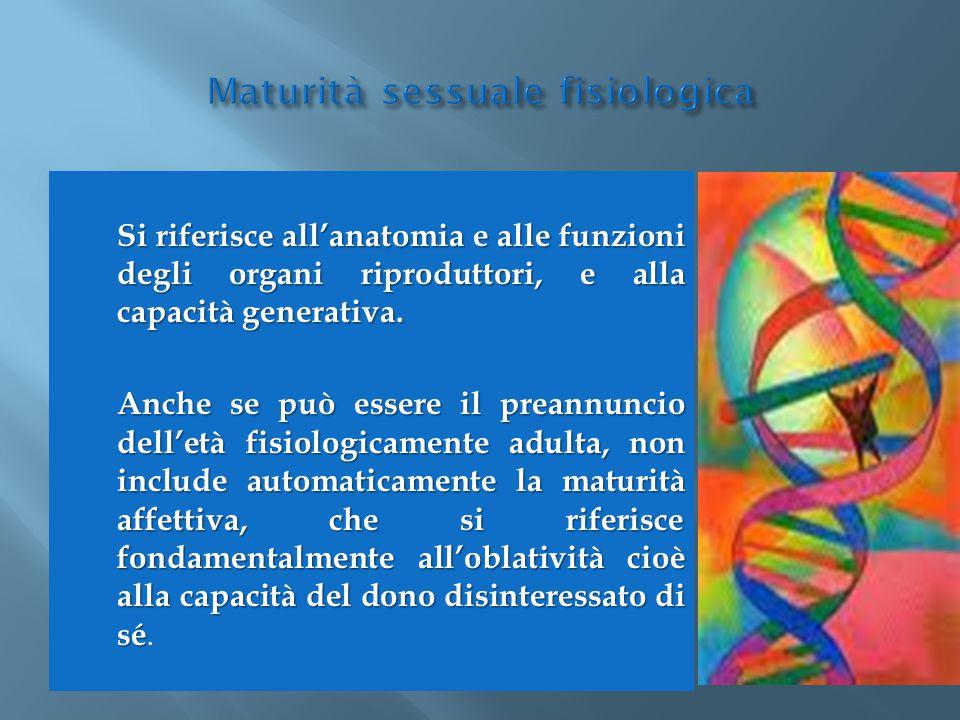 Si riferisce all'anatomia e alle funzioni degli organi riproduttori, e alla capacità generativa. Anche se può essere il preannuncio dell'età fisiologi