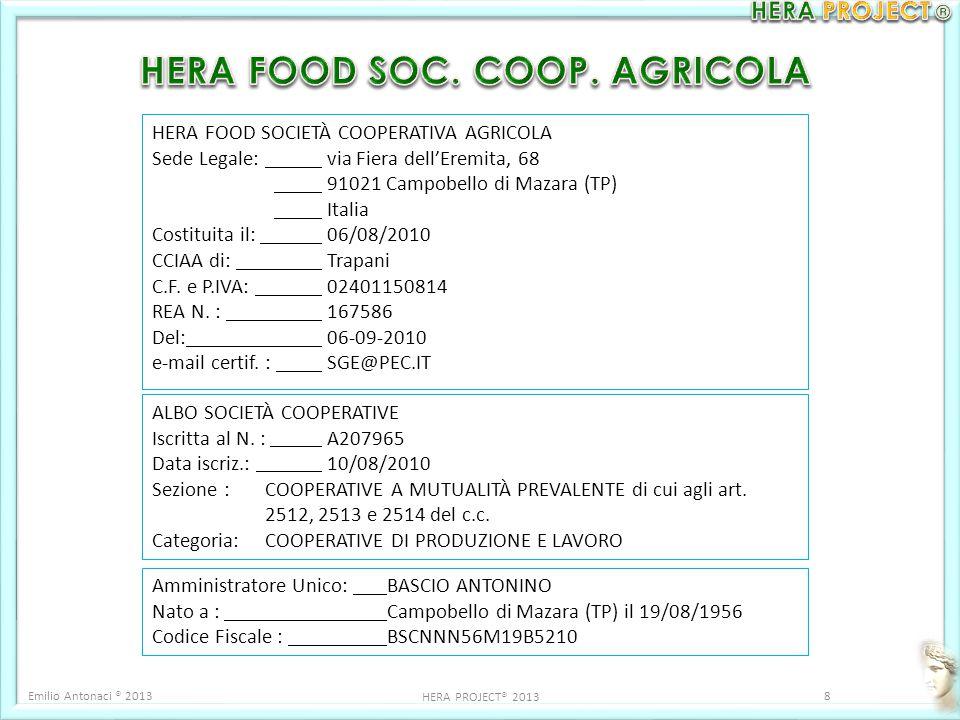 HERA FOOD SOCIETÀ COOPERATIVA AGRICOLA Sede Legale: via Fiera dell'Eremita, 68 91021 Campobello di Mazara (TP) Italia Costituita il: 06/08/2010 CCIAA di: Trapani C.F.