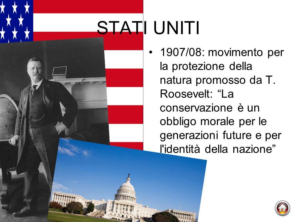 STATI UNITI 1907/08: movimento per la protezione della natura promosso da T.
