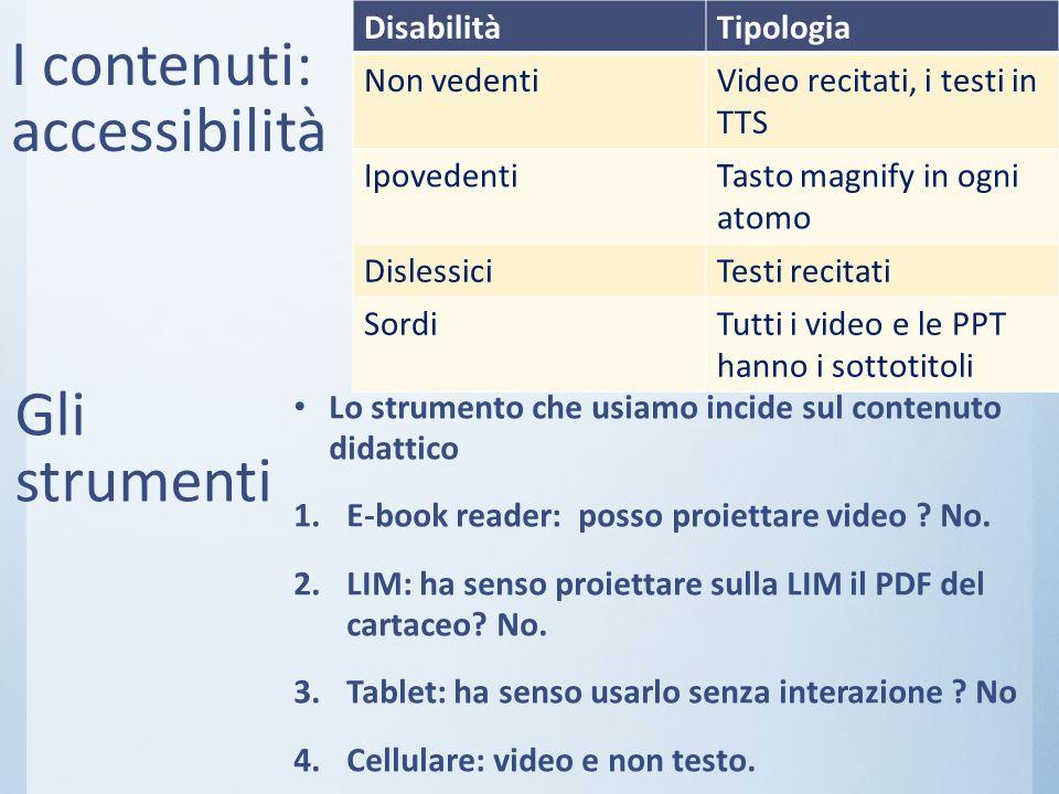I contenuti: accessibilità DisabilitàTipologia Non vedentiVideo recitati, i testi in TTS IpovedentiTasto magnify in ogni atomo DislessiciTesti recitat