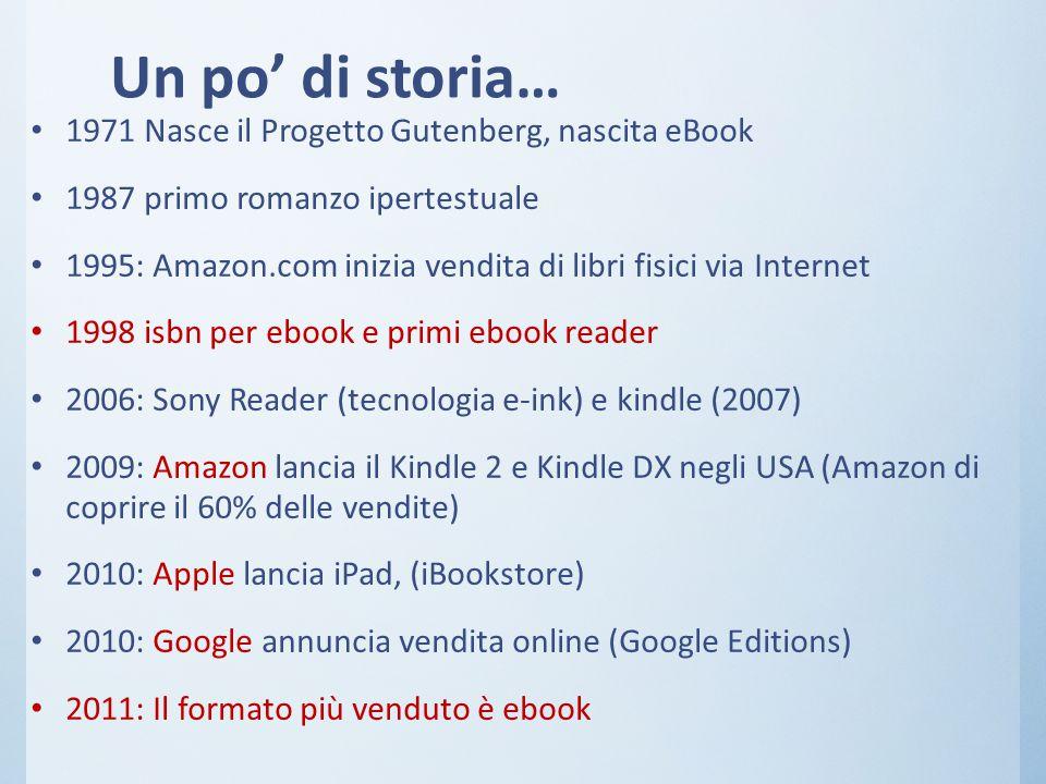 Un po' di storia… 1971 Nasce il Progetto Gutenberg, nascita eBook 1987 primo romanzo ipertestuale 1995: Amazon.com inizia vendita di libri fisici via Internet 1998 isbn per ebook e primi ebook reader 2006: Sony Reader (tecnologia e-ink) e kindle (2007) 2009: Amazon lancia il Kindle 2 e Kindle DX negli USA (Amazon di coprire il 60% delle vendite) 2010: Apple lancia iPad, (iBookstore) 2010: Google annuncia vendita online (Google Editions) 2011: Il formato più venduto è ebook
