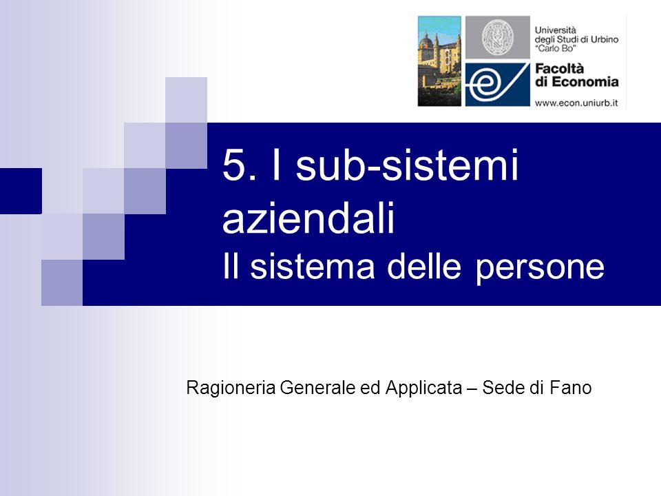 5. I sub-sistemi aziendali Il sistema delle persone Ragioneria Generale ed Applicata – Sede di Fano
